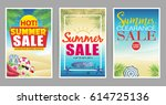 summer sale poster with... | Shutterstock .eps vector #614725136