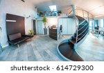 waving staircase inside modern... | Shutterstock . vector #614729300