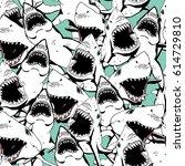 angry shark seamless pattern.... | Shutterstock .eps vector #614729810