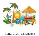 lettering summer with tropical... | Shutterstock .eps vector #614732084