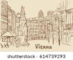 plague column on graben street... | Shutterstock .eps vector #614739293