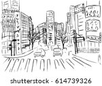 sketch of shopping street in... | Shutterstock .eps vector #614739326