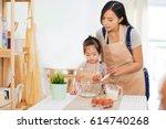 sweet little cute girl is...   Shutterstock . vector #614740268