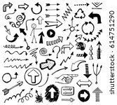 hand drawn vector arrows and... | Shutterstock .eps vector #614751290
