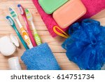 toothbrushes  soap  sponge ... | Shutterstock . vector #614751734