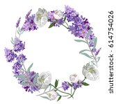 lavender and peony round frame... | Shutterstock .eps vector #614754026
