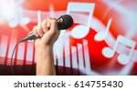 singing  karaoke or vocal... | Shutterstock . vector #614755430