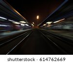 night train station with...   Shutterstock . vector #614762669