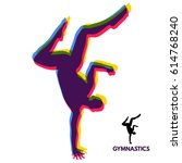 gymnast. silhouette of a dancer.... | Shutterstock .eps vector #614768240