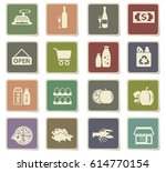 grocery store vector icons for... | Shutterstock .eps vector #614770154