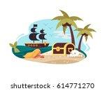pirate uninhabited island | Shutterstock .eps vector #614771270