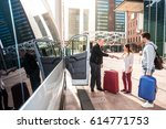 driver of a airport shuttle... | Shutterstock . vector #614771753