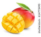 mango isolated on white... | Shutterstock . vector #614773490