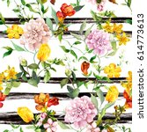 Stock photo flowers at monochrome striped background repeating floral background watercolor with black stripes 614773613