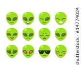 set of alien emoji icons. cute...