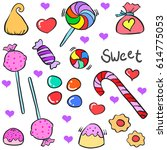 doodle of candy various design... | Shutterstock .eps vector #614775053