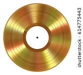 realistic gold vinyl record on... | Shutterstock . vector #614775443
