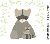 cute raccoon with child and... | Shutterstock .eps vector #614777984