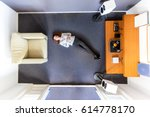 top view of a woman chilling...   Shutterstock . vector #614778170