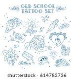 old school tattoo set. tattoo... | Shutterstock .eps vector #614782736