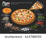 pizza on the board with the... | Shutterstock .eps vector #614788550