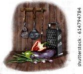 kitchen set. vegetarian set in...   Shutterstock . vector #614794784