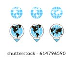 world map with pointer icon... | Shutterstock .eps vector #614796590