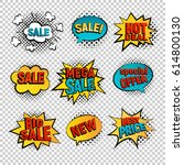 sale pop art vector set. big ... | Shutterstock .eps vector #614800130