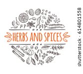 herbs and spices concept. hand... | Shutterstock .eps vector #614801558