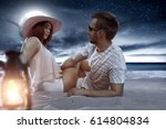 summer time and two lovers on... | Shutterstock . vector #614804834