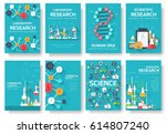 science information cards set.... | Shutterstock .eps vector #614807240