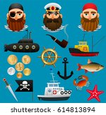 pirate  sea captain and... | Shutterstock .eps vector #614813894