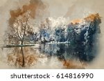 watercolor painting of... | Shutterstock . vector #614816990