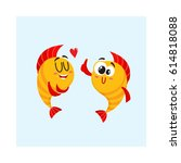 Two Funny  Smiling Golden Fish...