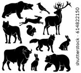 vector forest animals for wood... | Shutterstock .eps vector #614822150