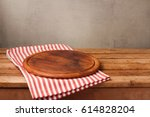 wooden round board on... | Shutterstock . vector #614828204