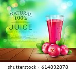 vector glass cup with juice of... | Shutterstock .eps vector #614832878