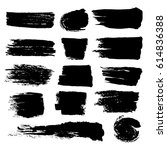 black paint brush strokes ... | Shutterstock .eps vector #614836388