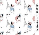 french bulldog seamless pattern | Shutterstock .eps vector #614837543