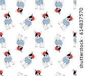 french bulldog seamless pattern | Shutterstock .eps vector #614837570