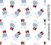 french bulldog seamless pattern | Shutterstock .eps vector #614837570