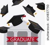 graduation cap building... | Shutterstock .eps vector #614837750