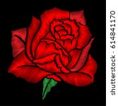 Embroidered Red Rose. On A...