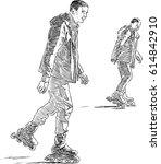 young men on the roller skates | Shutterstock .eps vector #614842910