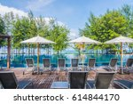 swimming pool with relaxing...   Shutterstock . vector #614844170