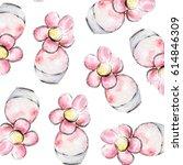 pink flower perfume  floral... | Shutterstock . vector #614846309