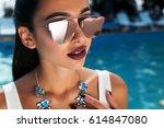 summer fashion close up... | Shutterstock . vector #614847080