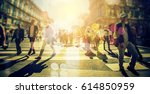 crowd of anonymous people... | Shutterstock . vector #614850959
