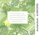 tropic leaves background with...   Shutterstock .eps vector #614852858