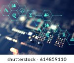 fintech icon  on abstract... | Shutterstock . vector #614859110